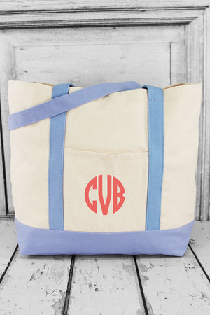 BAGedge 12oz. Canvas Boat Tote, Natural and Light Blue