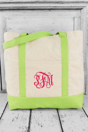 BAGedge 12oz. Canvas Boat Tote, Natural and Lime