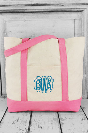 BAGedge 12oz. Canvas Boat Tote, Natural and Pink