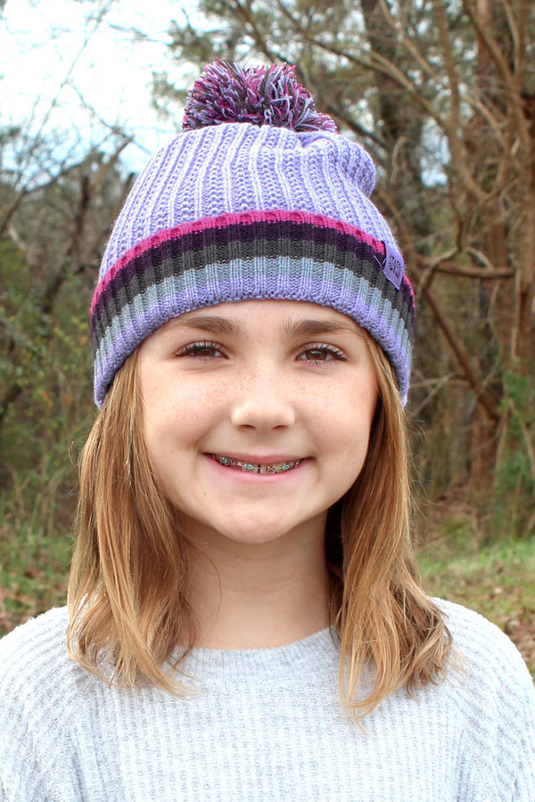 Kid's Lavender Play All Day Pom Pom Beanie