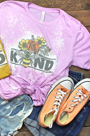 Bleached Floral Be Kind Tri-Blend Short Sleeve Tee
