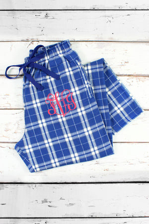 Royal and Silver Plaid Flannel Pajama Pant #F20YSILV *Personalize It