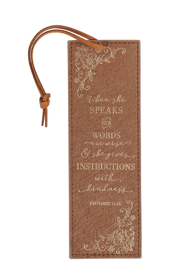 Proverbs 31:26 'When She Speaks' LuxLeather Page Marker
