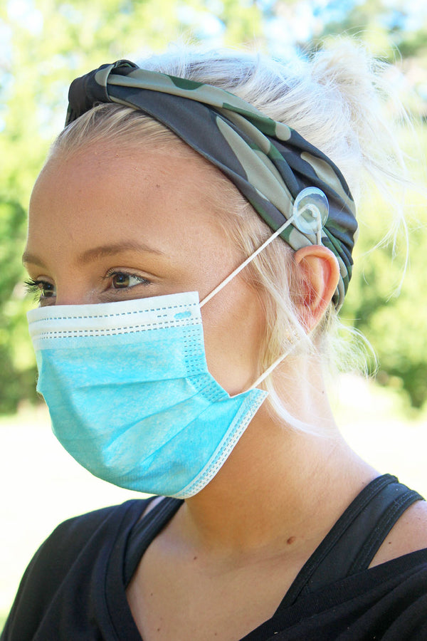 Camo Wide Button Headband Face Mask Holder