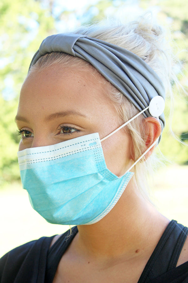 Gray Wide Button Headband Face Mask Holder
