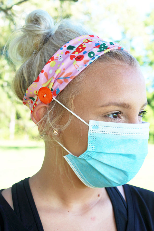 Snails & Mushrooms Pink Button Headband Face Mask Holder