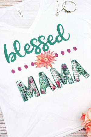 Blessed Mama Women's Slouchy V-Neck Tee