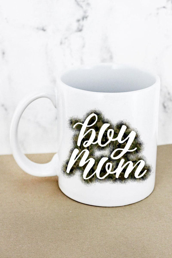 Boy Mom  White Mug