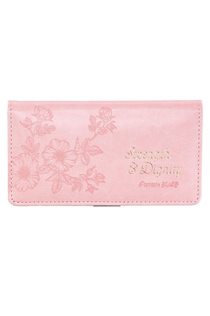 Proverbs 31:25 'Strength & Dignity' Pink LuxLeather Checkbook Cover