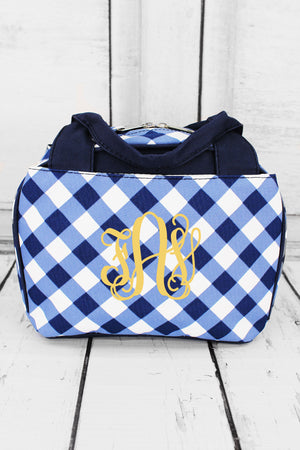 Navy and White Diamond Gingham Insulated Bowler Style Lunch Bag #CHE255-NAVY