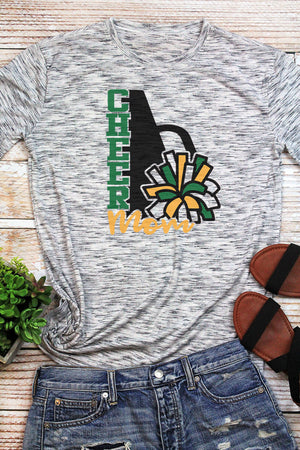 Cheer Mom - Green & Yellow Unisex White Marble Short Sleeve Tee