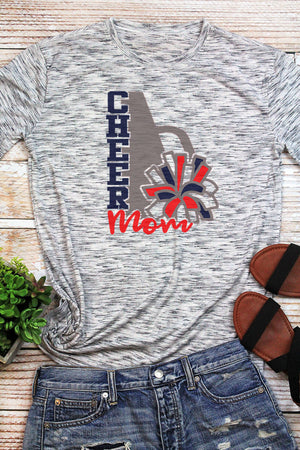 Cheer Mom - Navy & Red Unisex White Marble Short Sleeve Tee