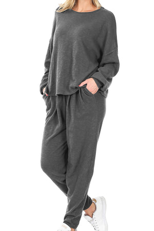 Ash Gray Cotton Drop Shoulder Top & Lounge Pants Set