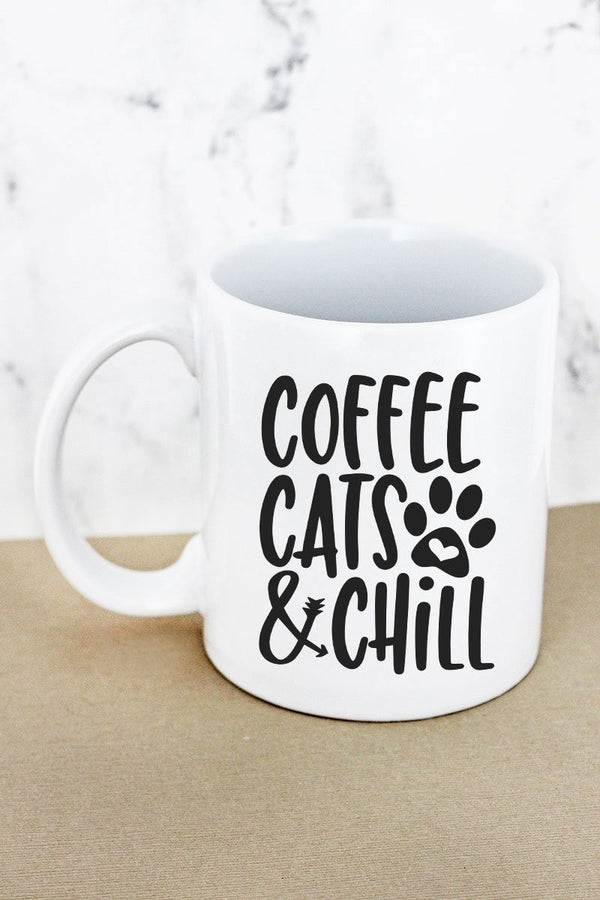 Coffee, Cats & Chill White Mug