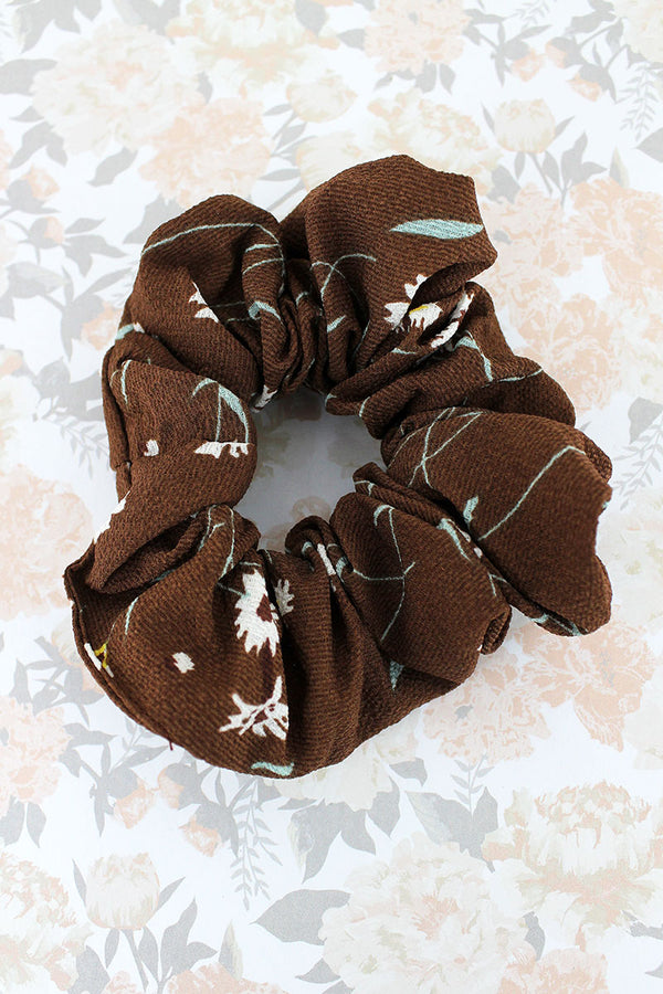 Floral Delight Brown Scrunchie