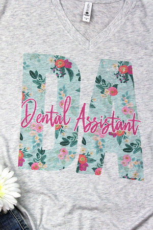 Floral Dental Assistant Tri-Blend V Neck Tee