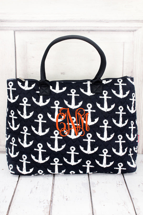 *Navy with White Anchors Quilted Large Shoulder Tote