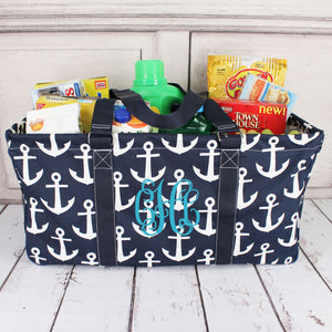Navy with White Anchors Collapsible Haul-It-All Basket with Mesh Pockets #DDT603-NAVY