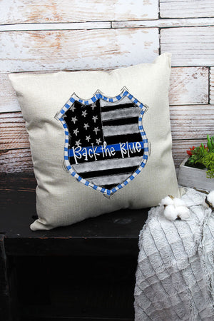 Doodle Badge Back The Blue Decorative Pillow Cover