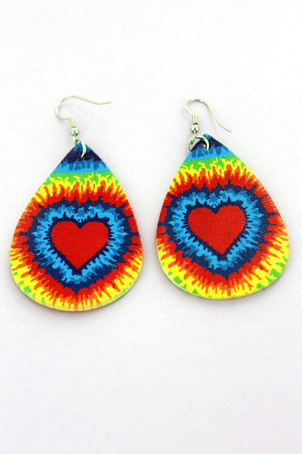 Tie-Dye Love Faux Leather Teardrop Earrings