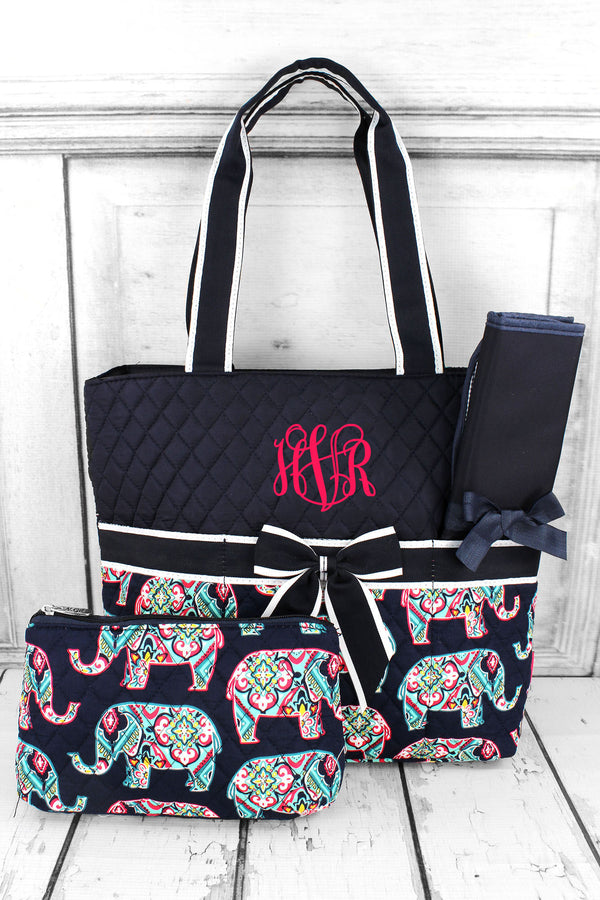 Preppy Ellie Quilted Diaper Bag with Navy Trim #ELE2121-NAVY