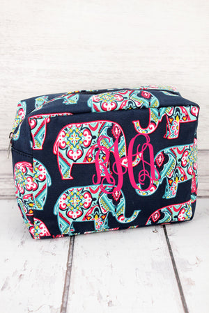 Preppy Ellie Cosmetic Case with Navy Trim