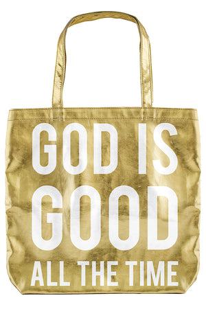 Metallic Gold 'God Is Good' Tote Bag