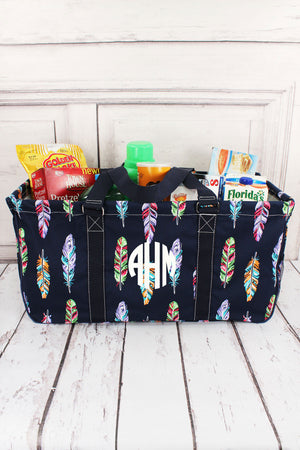 Fancy Feathers with Navy Trim Collapsible Haul-It-All Basket with Mesh Pockets