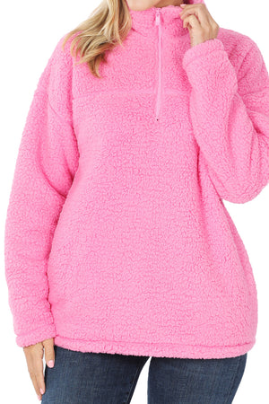 Candy Pink Quarter Zip Soft Sherpa Pullover with Pockets