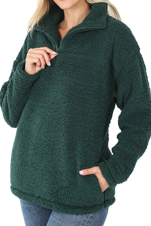 Hunter Green Quarter Zip Soft Sherpa Pullover with Pockets