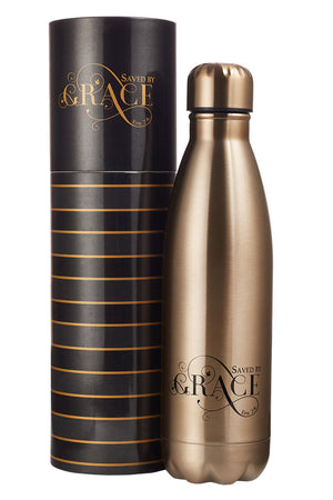 Ephesians 2:8 'Saved by Grace' Gold 17oz Stainless Steel Water Bottle