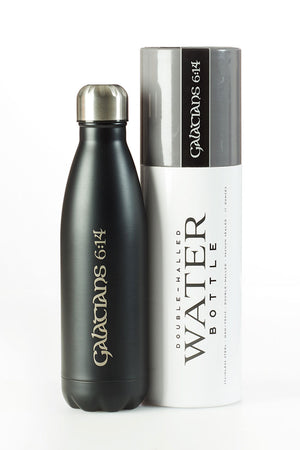 Galatians 6:14 Black 17oz Stainless Steel Water Bottle