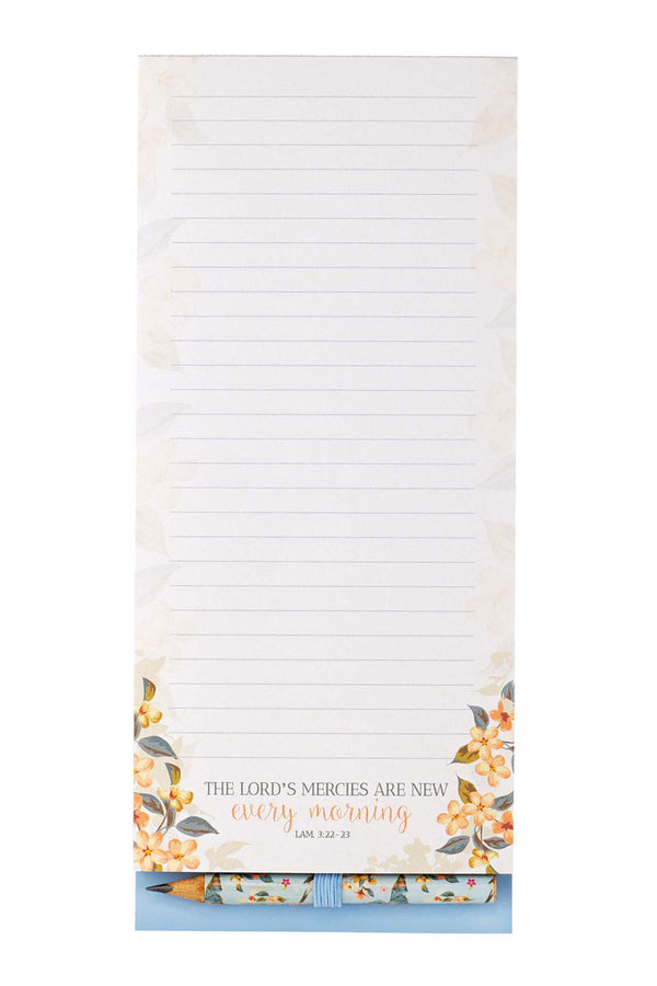 Lamentations 3:22-23 'The Lord's Mercies' Magnetic Notepad with Pencil