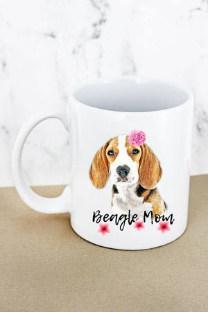 Floral Beagle Mom White Mug