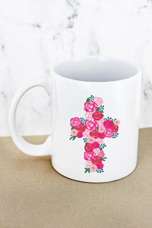 Floral Cross White Mug