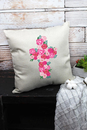 Floral Cross Decorative Pillow Cover