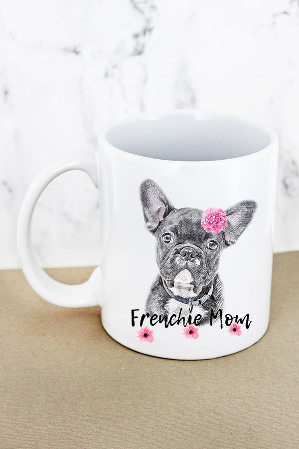 Floral Frenchie Mom White Mug