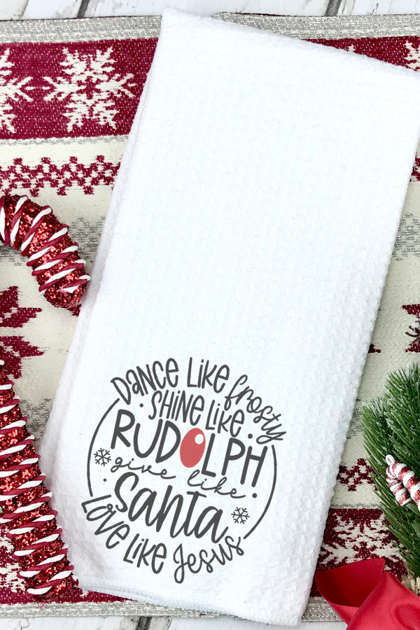 Give Like Santa Waffle Kitchen Towel