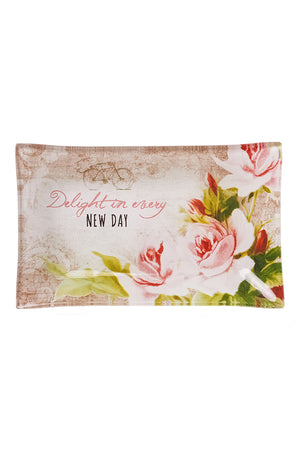 Delight In Every New Day Glass Trinket Tray