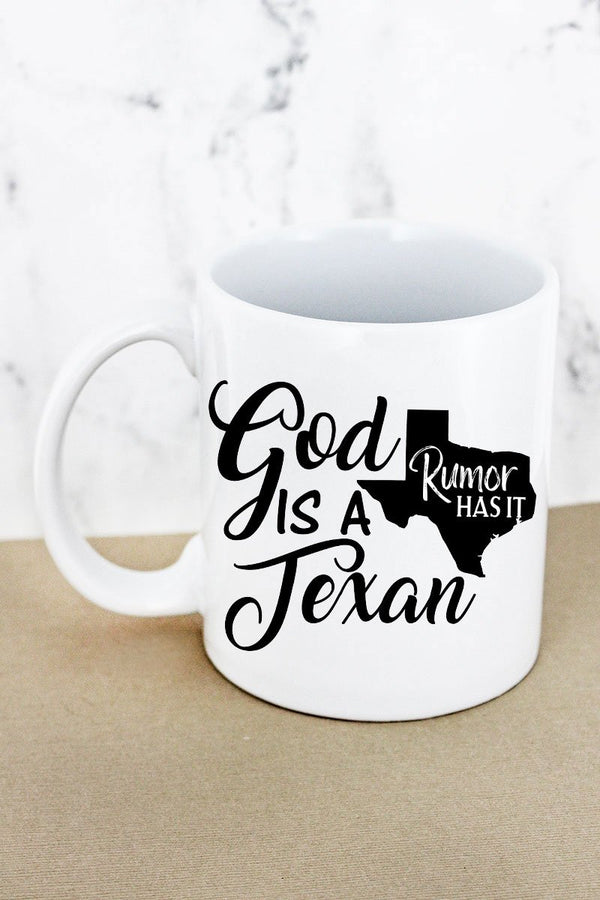 God Is A Texan White Mug