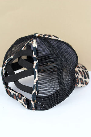 Leopard and Black Mesh 'Trump 2020' Ponytail Cap