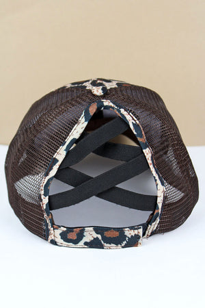 Leopard and Brown Mesh 'Trump 2020' Ponytail Cap