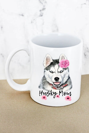 Floral Husky Mom White Mug