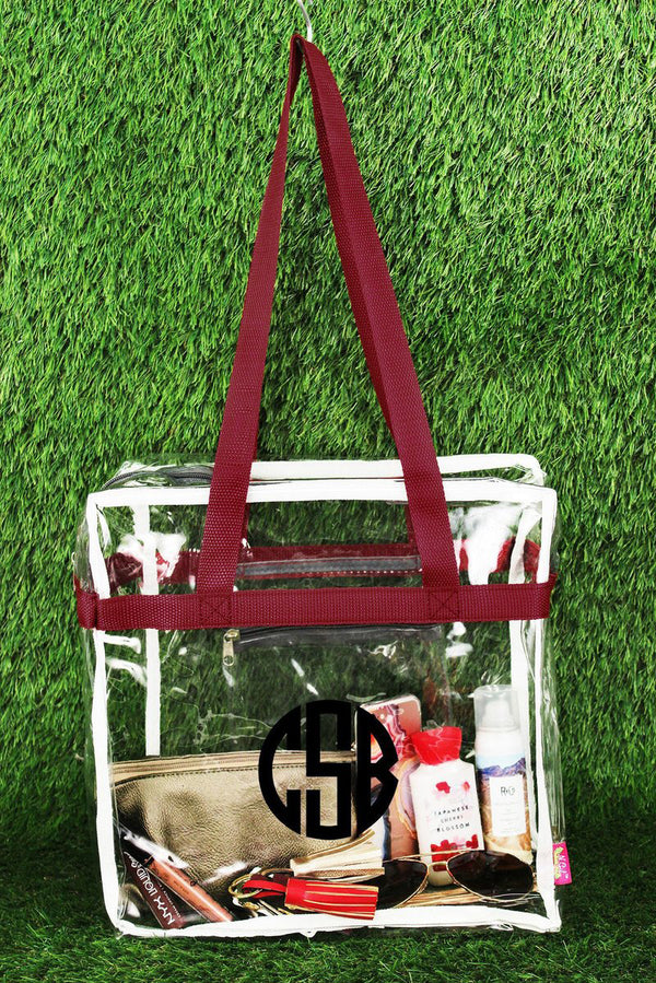Clear Stadium Tote Bag with Burgundy and Gray Trim