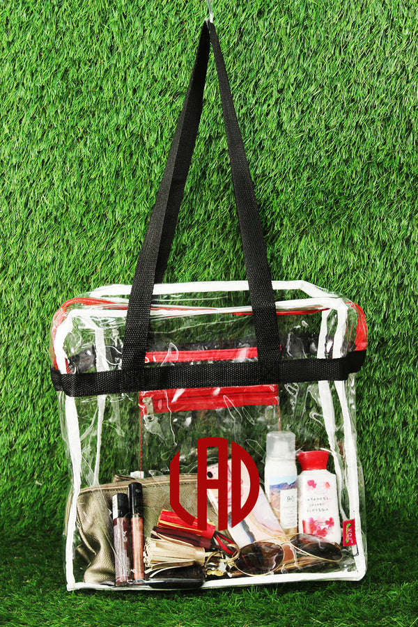 Clear Stadium Tote Bag with Black and Red Trim