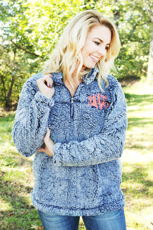 Boxercraft Vintage Navy Sherpa Pullover *Personalize It