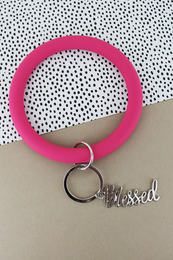 Silvertone 'Blessed' Pink Silicone Bangle Keychain