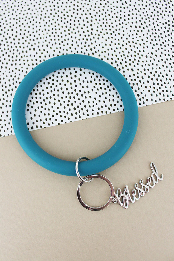 Silvertone 'Blessed' Teal Silicone Bangle Keychain