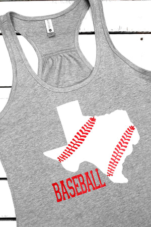 State Baseball Womens Gathered Racerback Tank *Choose From 5 States