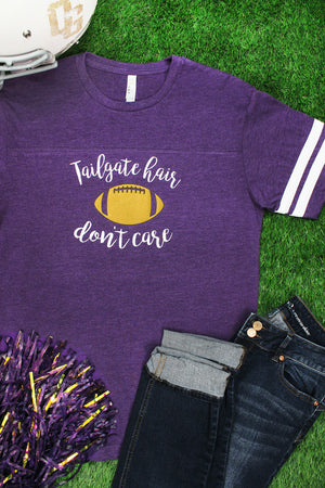 Tailgate Hair Don't Care Adult Varsity Tee *Choose Your Colors